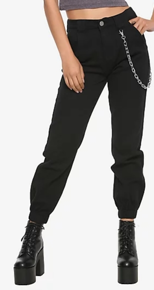 Black Deming Chain Jogger Pants